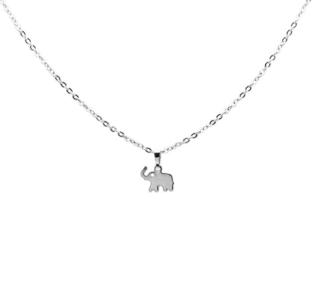Silver Elephant Drop Necklace