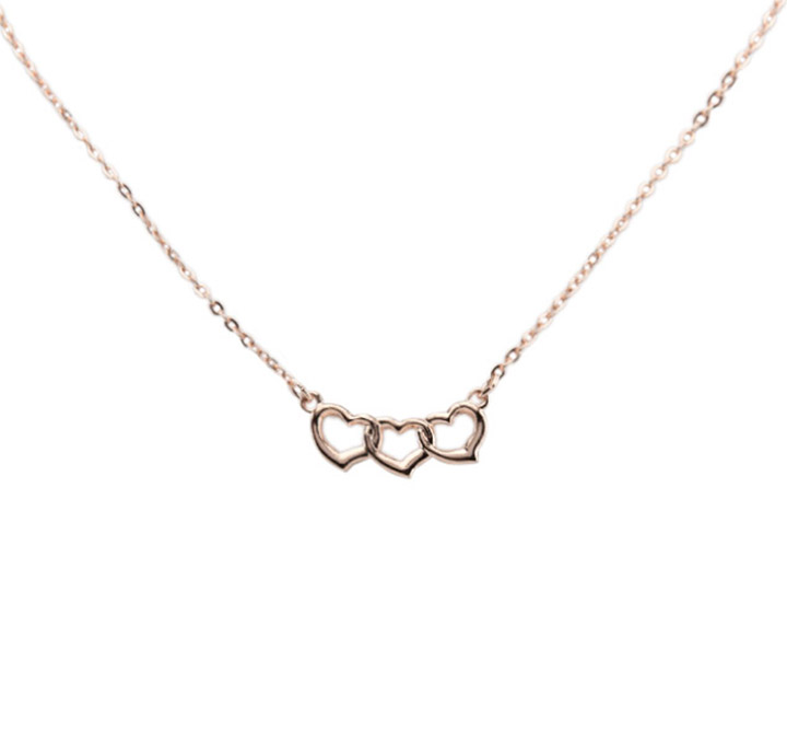 Rose gold triple heart necklace superior jewelry rose gold triple heart necklace aloadofball Images
