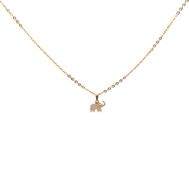 Gold Elephant Drop Necklace